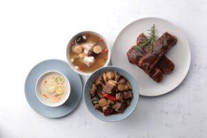 MMHG 與 Green & Safe 合作開發名廚家常菜,有南杏干貝雪梨小排湯、櫻花蝦干貝鮑魚粥、紫蘇梅醬醃豬肋排、東北酸辣滷肉