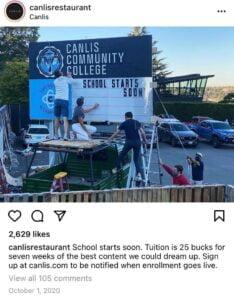 Canlis社區大學教授餐飲相關專業知識,這所非營利的社區大學,賺取的利潤在付掉貸款等必要開銷後,全數捐給了當地救助飢餓及輔導就業的組織。